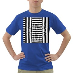 Black And White Abstract Stripped Geometric Background Dark T-Shirt
