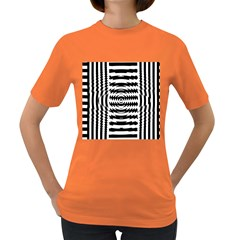 Black And White Abstract Stripped Geometric Background Women s Dark T-Shirt