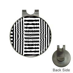 Black And White Abstract Stripped Geometric Background Hat Clips with Golf Markers