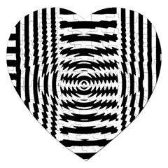 Black And White Abstract Stripped Geometric Background Jigsaw Puzzle (Heart)