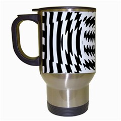 Black And White Abstract Stripped Geometric Background Travel Mugs (white)