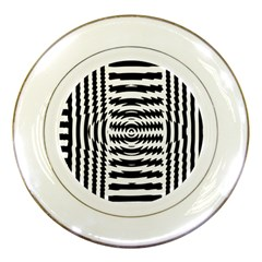 Black And White Abstract Stripped Geometric Background Porcelain Plates