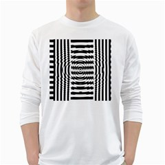 Black And White Abstract Stripped Geometric Background White Long Sleeve T-Shirts
