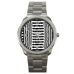 Black And White Abstract Stripped Geometric Background Sport Metal Watch