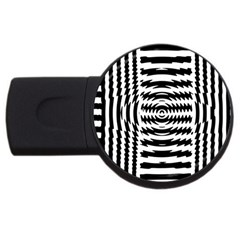 Black And White Abstract Stripped Geometric Background Usb Flash Drive Round (4 Gb)
