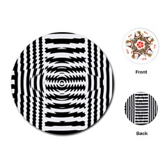 Black And White Abstract Stripped Geometric Background Playing Cards (round)