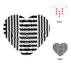 Black And White Abstract Stripped Geometric Background Playing Cards (heart)