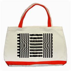 Black And White Abstract Stripped Geometric Background Classic Tote Bag (Red)