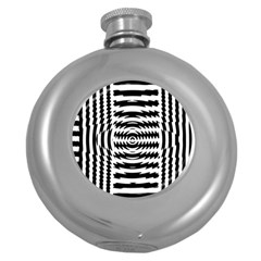 Black And White Abstract Stripped Geometric Background Round Hip Flask (5 oz)