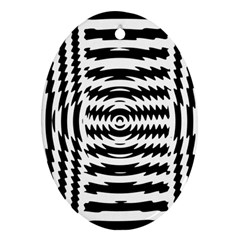 Black And White Abstract Stripped Geometric Background Oval Ornament (two Sides)