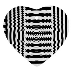 Black And White Abstract Stripped Geometric Background Heart Ornament (two Sides)