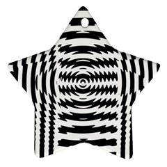 Black And White Abstract Stripped Geometric Background Star Ornament (two Sides)