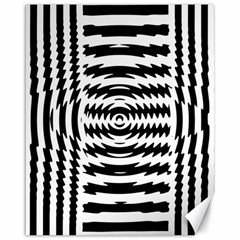 Black And White Abstract Stripped Geometric Background Canvas 16  x 20