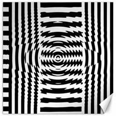 Black And White Abstract Stripped Geometric Background Canvas 20  x 20