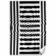 Black And White Abstract Stripped Geometric Background Canvas 20  X 30