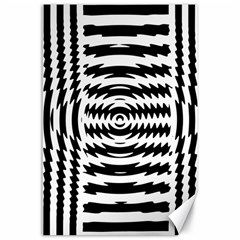 Black And White Abstract Stripped Geometric Background Canvas 24  x 36