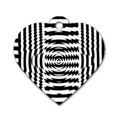 Black And White Abstract Stripped Geometric Background Dog Tag Heart (One Side)