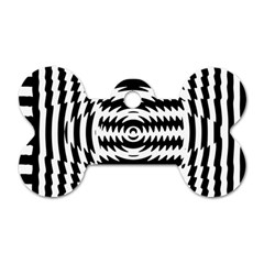 Black And White Abstract Stripped Geometric Background Dog Tag Bone (Two Sides)