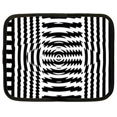Black And White Abstract Stripped Geometric Background Netbook Case (large)