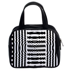 Black And White Abstract Stripped Geometric Background Classic Handbags (2 Sides)