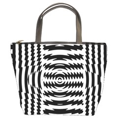 Black And White Abstract Stripped Geometric Background Bucket Bags