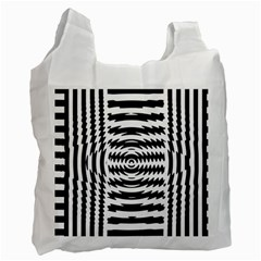 Black And White Abstract Stripped Geometric Background Recycle Bag (One Side)