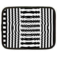 Black And White Abstract Stripped Geometric Background Netbook Case (xl)