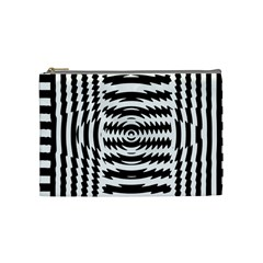 Black And White Abstract Stripped Geometric Background Cosmetic Bag (Medium)