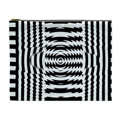 Black And White Abstract Stripped Geometric Background Cosmetic Bag (XL)