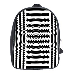 Black And White Abstract Stripped Geometric Background School Bags(large)