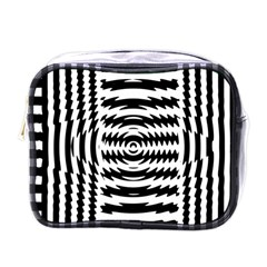 Black And White Abstract Stripped Geometric Background Mini Toiletries Bags