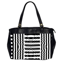 Black And White Abstract Stripped Geometric Background Office Handbags (2 Sides)