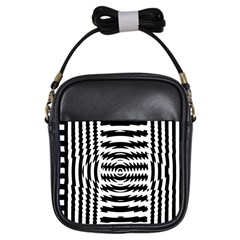 Black And White Abstract Stripped Geometric Background Girls Sling Bags