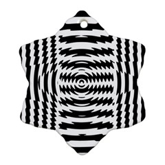 Black And White Abstract Stripped Geometric Background Snowflake Ornament (Two Sides)
