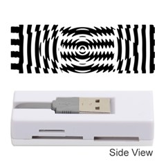 Black And White Abstract Stripped Geometric Background Memory Card Reader (Stick)