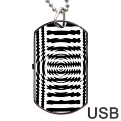 Black And White Abstract Stripped Geometric Background Dog Tag USB Flash (Two Sides)