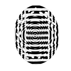 Black And White Abstract Stripped Geometric Background Oval Filigree Ornament (Two Sides)