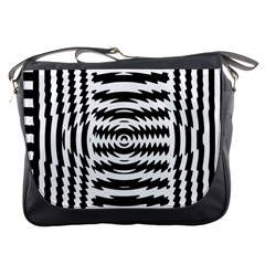 Black And White Abstract Stripped Geometric Background Messenger Bags