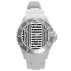 Black And White Abstract Stripped Geometric Background Round Plastic Sport Watch (l)