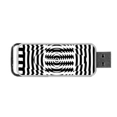 Black And White Abstract Stripped Geometric Background Portable Usb Flash (two Sides)