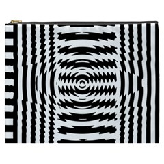 Black And White Abstract Stripped Geometric Background Cosmetic Bag (xxxl)