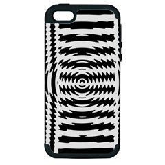 Black And White Abstract Stripped Geometric Background Apple iPhone 5 Hardshell Case (PC+Silicone)