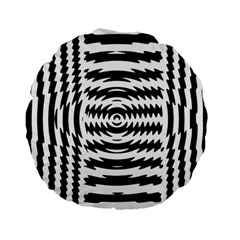 Black And White Abstract Stripped Geometric Background Standard 15  Premium Round Cushions