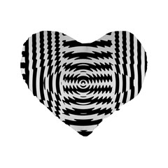 Black And White Abstract Stripped Geometric Background Standard 16  Premium Heart Shape Cushions