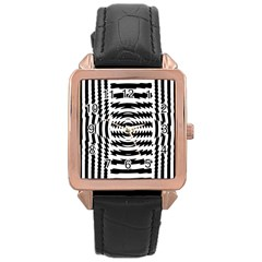 Black And White Abstract Stripped Geometric Background Rose Gold Leather Watch