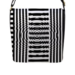 Black And White Abstract Stripped Geometric Background Flap Messenger Bag (l)