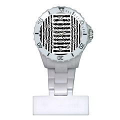 Black And White Abstract Stripped Geometric Background Plastic Nurses Watch