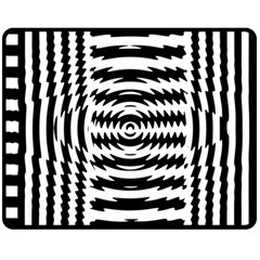 Black And White Abstract Stripped Geometric Background Double Sided Fleece Blanket (Medium)