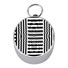 Black And White Abstract Stripped Geometric Background Mini Silver Compasses