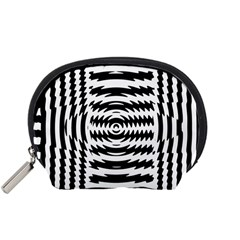 Black And White Abstract Stripped Geometric Background Accessory Pouches (small)